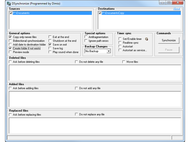 DSynchronize Portable full screenshot