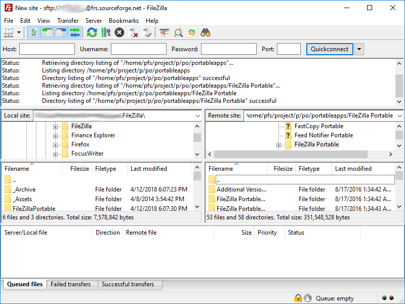 Full FileZilla Portable screenshot