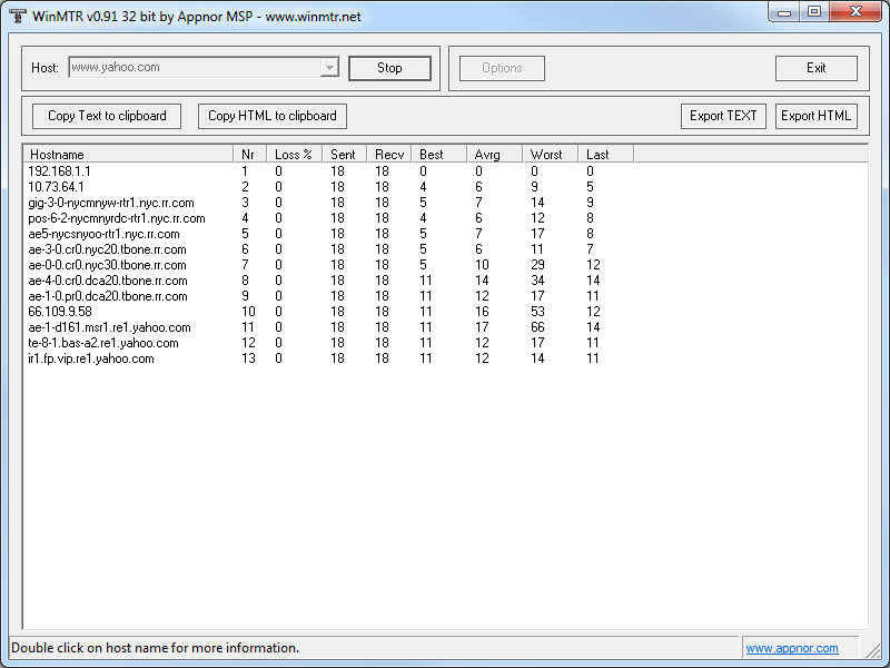 Portable WinMTR screenshot