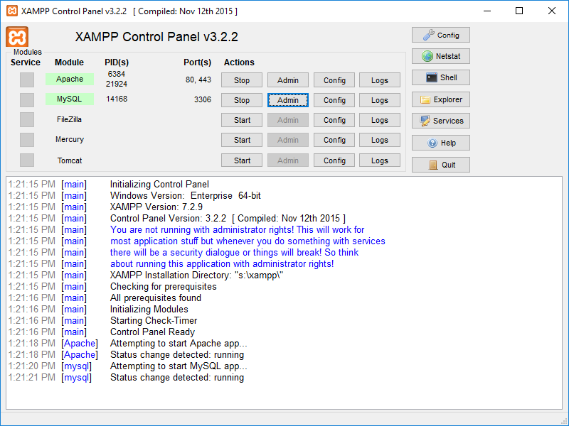 XAMPP portable full screenshot