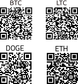 BTC, LTC, DGC, and ETH QR codes