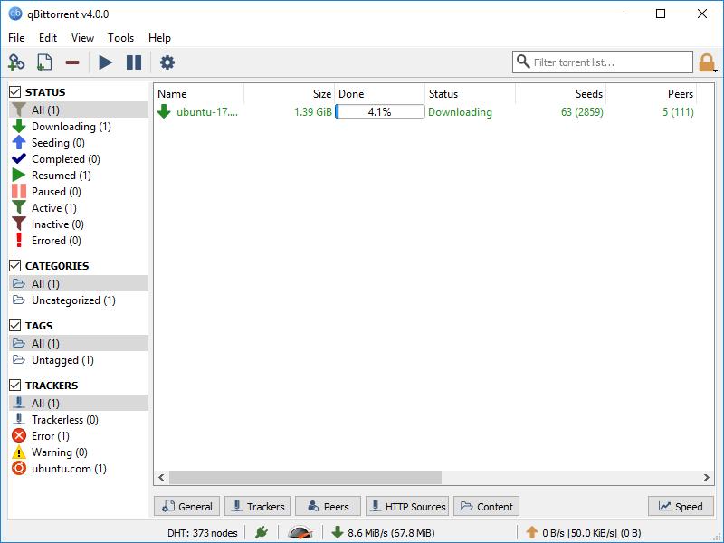 qBittorrent portable full screenshot